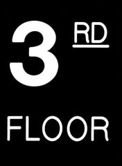 Floor number Three (3) sign Engraved Plastic (FLOOR SIGNS 4.5X6)
