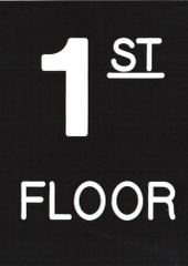 Floor number one (1) sign Engraved Plastic (FLOOR SIGNS 4.5X6)