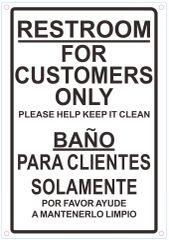 RESTROOM FOR CUSTOMERS ONLY PLEASE HELP KEEP IT CLEAN SIGN (ALUMINUM SIGNS 7 X 10)