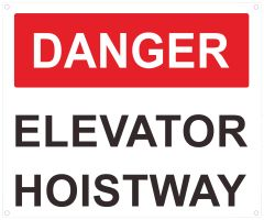 DANGER ELEVATOR HOISTWAY SIGN- RED- WHITE BACKGROUND (ALUMINUM SIGNS 10X12)