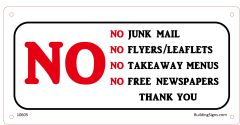 No Junk Mail SIGN (Aluminium)