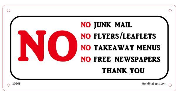 No Junk Mail SIGN (Aluminium)