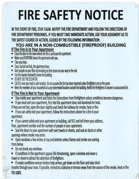 Fire Department Notice - Fire Safety Notice: Non Combustible Building SIGN