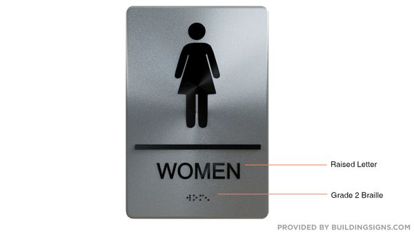 WOMEN Restroom Sign ADA SIGN - The sensation line