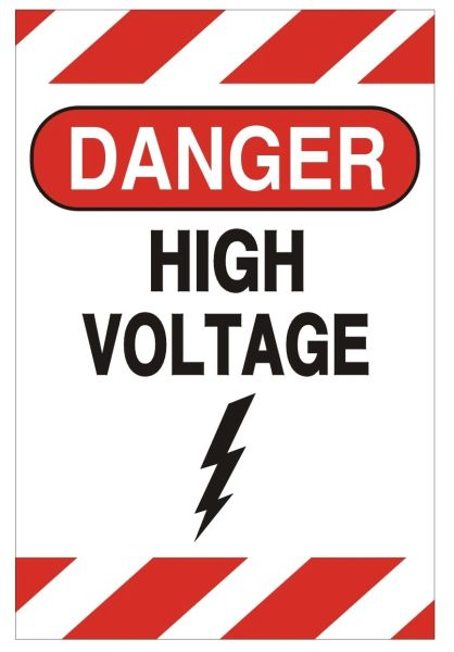 DANGER HIGH VOLTAGE SIGN (ALUMINUM SIGNS 6X4)