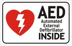 AED INSIDE SIGN- AUTOMATED EXTERNAL DEFIBRILLATOR INSIDE SIGN (ALUMINUM SIGNS 3.5X5.5)