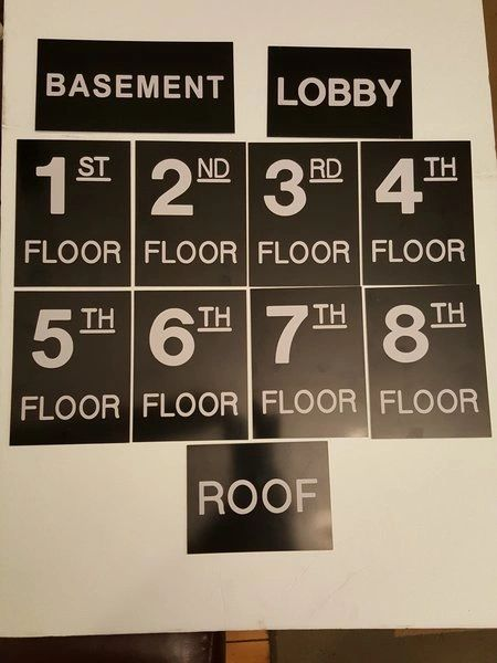 Floor number Sign Set Engraved Plastic