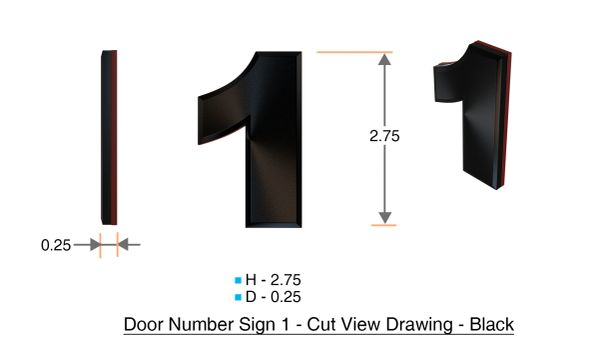 z- APARTMENT, DOOR AND MAILBOX NUMBER ONE SIGN - 1 SIGN- BLACK (HIGH QUALITY PLASTIC DOOR SIGNS 0.25 THICK)