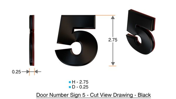 z- APARTMENT, DOOR AND MAILBOX NUMBER FIVE SIGN - 5 SIGN- BLACK (HIGH QUALITY PLASTIC DOOR SIGNS 0.25 THICK)
