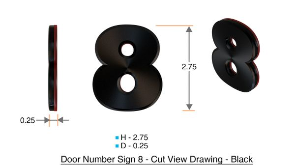 z- APARTMENT, DOOR AND MAILBOX NUMBER EIGHT SIGN - 8 SIGN- BLACK (HIGH QUALITY PLASTIC DOOR SIGNS 0.25 THICK)
