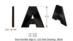 z- APARTMENT, DOOR AND MAILBOX LETTER A SIGN - LETTER SIGN A- BLACK (HIGH QUALITY PLASTIC DOOR SIGNS 0.25 THICK)
