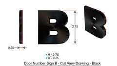 z- APARTMENT, DOOR AND MAILBOX LETTER B SIGN - LETTER SIGN B- BLACK (HIGH QUALITY PLASTIC DOOR SIGNS 0.25 THICK)