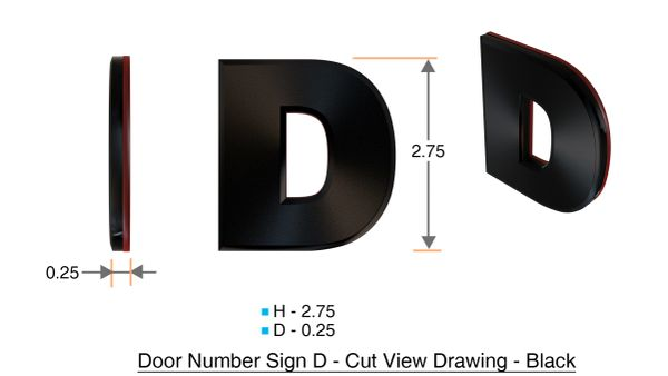 z- APARTMENT, DOOR AND MAILBOX LETTER D SIGN - LETTER SIGN D- BLACK (HIGH QUALITY PLASTIC DOOR SIGNS 0.25 THICK)