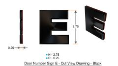 z- APARTMENT, DOOR AND MAILBOX LETTER E SIGN - LETTER SIGN E- BLACK (HIGH QUALITY PLASTIC DOOR SIGNS 0.25 THICK)