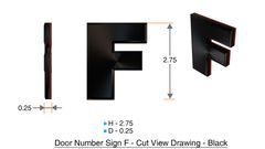 z- APARTMENT, DOOR AND MAILBOX LETTER F SIGN - LETTER SIGN F- BLACK (HIGH QUALITY PLASTIC DOOR SIGNS 0.25 THICK)