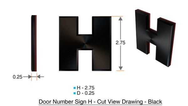 z- APARTMENT, DOOR AND MAILBOX LETTER H SIGN - LETTER SIGN H- BLACK (HIGH QUALITY PLASTIC DOOR SIGNS 0.25 THICK)