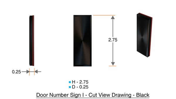 z- APARTMENT, DOOR AND MAILBOX LETTER I SIGN - LETTER SIGN I- BLACK (HIGH QUALITY PLASTIC DOOR SIGNS 0.25 THICK)