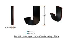z- APARTMENT, DOOR AND MAILBOX LETTER J SIGN - LETTER SIGN J- BLACK (HIGH QUALITY PLASTIC DOOR SIGNS 0.25 THICK)