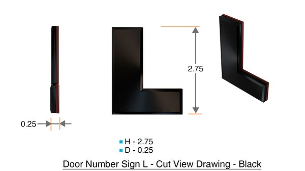 z- APARTMENT, DOOR AND MAILBOX LETTER L SIGN - LETTER SIGN L- BLACK (HIGH QUALITY PLASTIC DOOR SIGNS 0.25 THICK)