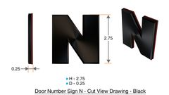 z- APARTMENT, DOOR AND MAILBOX LETTER M SIGN - LETTER SIGN M- BLACK (HIGH QUALITY PLASTIC DOOR SIGNS 0.25 THICK)