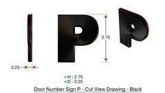 z- APARTMENT, DOOR AND MAILBOX LETTER P SIGN - LETTER SIGN P- BLACK (HIGH QUALITY PLASTIC DOOR SIGNS 0.25 THICK)