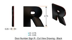 z- APARTMENT, DOOR AND MAILBOX LETTER R SIGN - LETTER SIGN R- BLACK (HIGH QUALITY PLASTIC DOOR SIGNS 0.25 THICK)