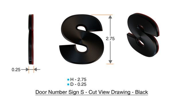 z- APARTMENT, DOOR AND MAILBOX LETTER S SIGN - LETTER SIGN S- BLACK (HIGH QUALITY PLASTIC DOOR SIGNS 0.25 THICK)