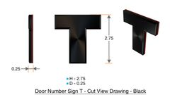 z- APARTMENT, DOOR AND MAILBOX LETTER T SIGN - LETTER SIGN T- BLACK (HIGH QUALITY PLASTIC DOOR SIGNS 0.25 THICK)