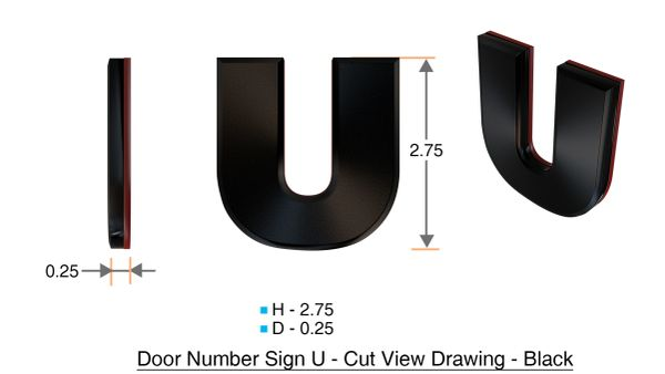 z- APARTMENT, DOOR AND MAILBOX LETTER U SIGN - LETTER SIGN U- BLACK (HIGH QUALITY PLASTIC DOOR SIGNS 0.25 THICK)