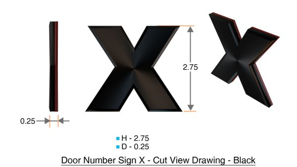 z- APARTMENT, DOOR AND MAILBOX LETTER X SIGN - LETTER SIGN X- BLACK (HIGH QUALITY PLASTIC DOOR SIGNS 0.25 THICK)