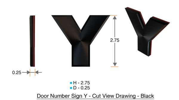 z- APARTMENT, DOOR AND MAILBOX LETTER Y SIGN - LETTER SIGN Y- BLACK (HIGH QUALITY PLASTIC DOOR SIGNS 0.25 THICK)
