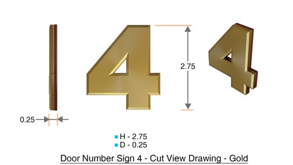 z- APARTMENT, DOOR AND MAILBOX NUMBER FOUR SIGN - 4 SIGN- GOLD (HIGH QUALITY PLASTIC DOOR SIGNS 0.25 THICK)