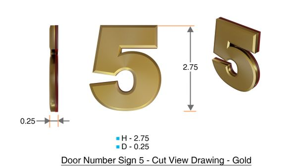 z- APARTMENT, DOOR AND MAILBOX NUMBER FIVE SIGN - 5 SIGN- GOLD (HIGH QUALITY PLASTIC DOOR SIGNS 0.25 THICK)