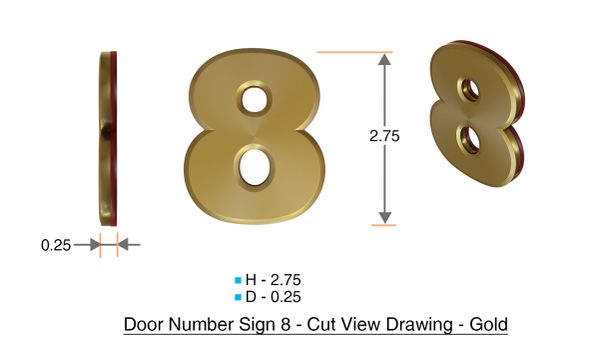 z- APARTMENT, DOOR AND MAILBOX NUMBER EIGHT SIGN - 8 SIGN- GOLD (HIGH QUALITY PLASTIC DOOR SIGNS 0.25 THICK)