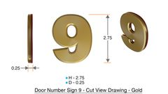 z- APARTMENT, DOOR AND MAILBOX NUMBER NINE SIGN - 9 SIGN- GOLD (HIGH QUALITY PLASTIC DOOR SIGNS 0.25 THICK)