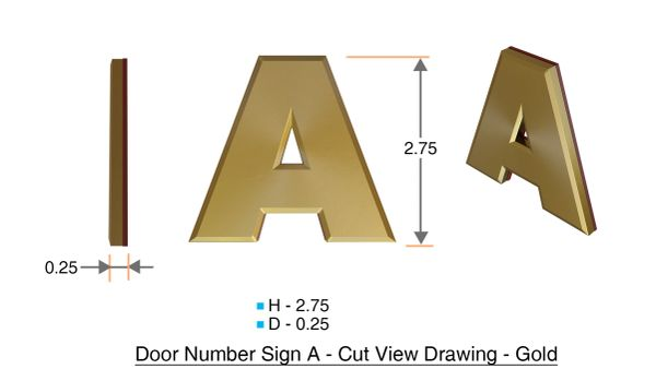 APARTMENT, DOOR AND MAILBOX LETTER A SIGN - LETTER SIGN A- GOLD -THE TRIDIMENSIONALE LINE