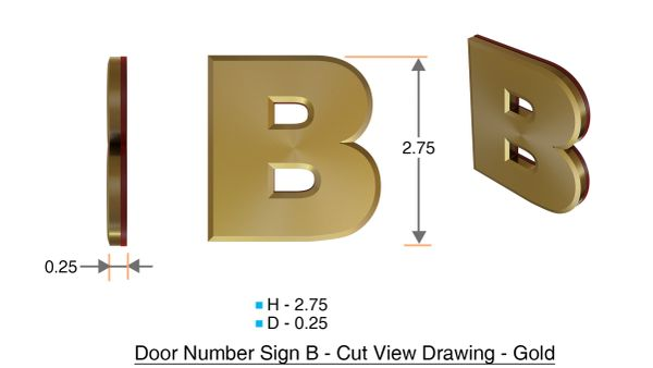 z- APARTMENT, DOOR AND MAILBOX LETTER B SIGN - LETTER SIGN B- GOLD (HIGH QUALITY PLASTIC DOOR SIGNS 0.25 THICK)