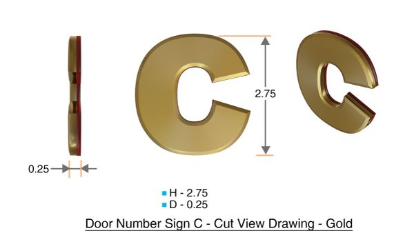z- APARTMENT, DOOR AND MAILBOX LETTER C SIGN - LETTER SIGN C- GOLD (HIGH QUALITY PLASTIC DOOR SIGNS 0.25 THICK)