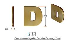 z- APARTMENT, DOOR AND MAILBOX LETTER D SIGN - LETTER SIGN D- GOLD (HIGH QUALITY PLASTIC DOOR SIGNS 0.25 THICK)