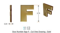 z- APARTMENT, DOOR AND MAILBOX LETTER F SIGN - LETTER SIGN F- GOLD (HIGH QUALITY PLASTIC DOOR SIGNS 0.25 THICK)