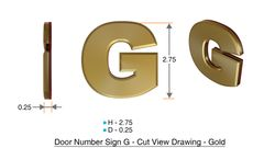 z- APARTMENT, DOOR AND MAILBOX LETTER G SIGN - LETTER SIGN G- GOLD (HIGH QUALITY PLASTIC DOOR SIGNS 0.25 THICK)