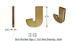 z- APARTMENT, DOOR AND MAILBOX LETTER J SIGN - LETTER SIGN J- GOLD (HIGH QUALITY PLASTIC DOOR SIGNS 0.25 THICK)