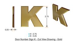 z- APARTMENT, DOOR AND MAILBOX LETTER K SIGN - LETTER SIGN K- GOLD (HIGH QUALITY PLASTIC DOOR SIGNS 0.25 THICK)