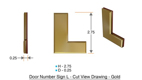 z- APARTMENT, DOOR AND MAILBOX LETTER L SIGN - LETTER SIGN L- GOLD (HIGH QUALITY PLASTIC DOOR SIGNS 0.25 THICK)
