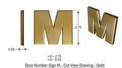z- APARTMENT, DOOR AND MAILBOX LETTER M SIGN - LETTER SIGN M- GOLD (HIGH QUALITY PLASTIC DOOR SIGNS 0.25 THICK)