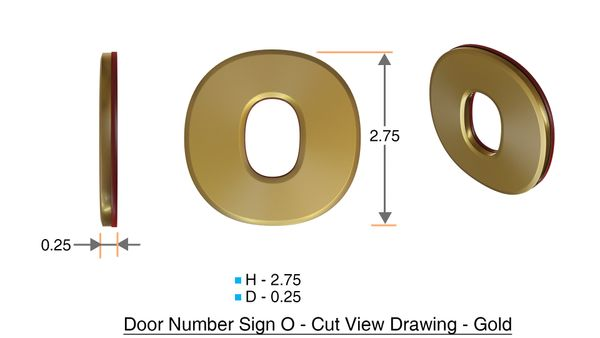 z- APARTMENT, DOOR AND MAILBOX LETTER O SIGN - LETTER SIGN O- GOLD (HIGH QUALITY PLASTIC DOOR SIGNS 0.25 THICK)