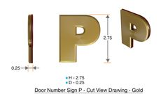 z- APARTMENT, DOOR AND MAILBOX LETTER P SIGN - LETTER SIGN P- GOLD (HIGH QUALITY PLASTIC DOOR SIGNS 0.25 THICK)