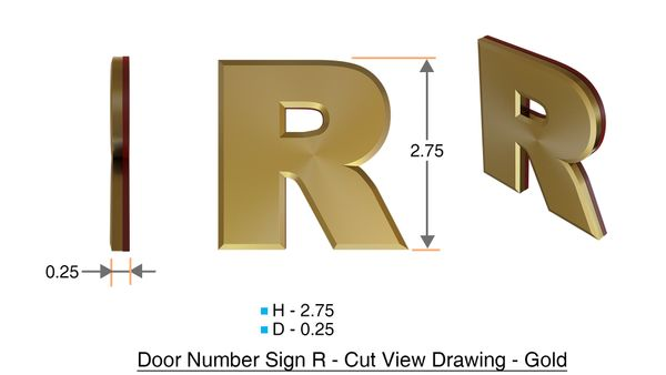 z- APARTMENT, DOOR AND MAILBOX LETTER R SIGN - LETTER SIGN R- GOLD (HIGH QUALITY PLASTIC DOOR SIGNS 0.25 THICK)
