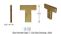 z- APARTMENT, DOOR AND MAILBOX LETTER T SIGN - LETTER SIGN T- GOLD (HIGH QUALITY PLASTIC DOOR SIGNS 0.25 THICK)