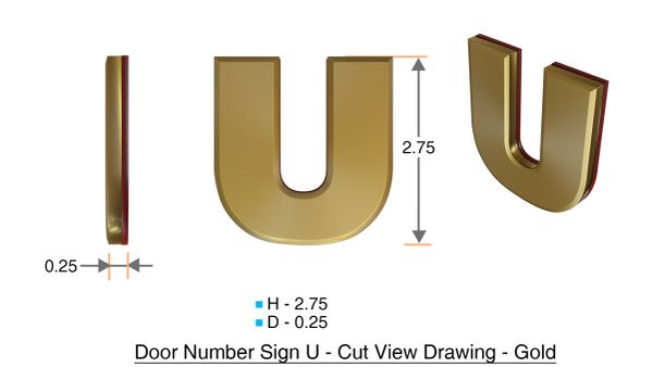 z- APARTMENT, DOOR AND MAILBOX LETTER U SIGN - LETTER SIGN U- GOLD (HIGH QUALITY PLASTIC DOOR SIGNS 0.25 THICK)
